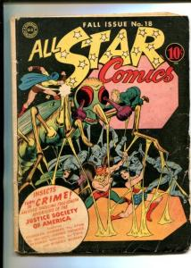 ALL STAR #18-1943-DC-HAWKMAN-WONDER WOMAN-BIZARRE-INSECT COVER-vg minus