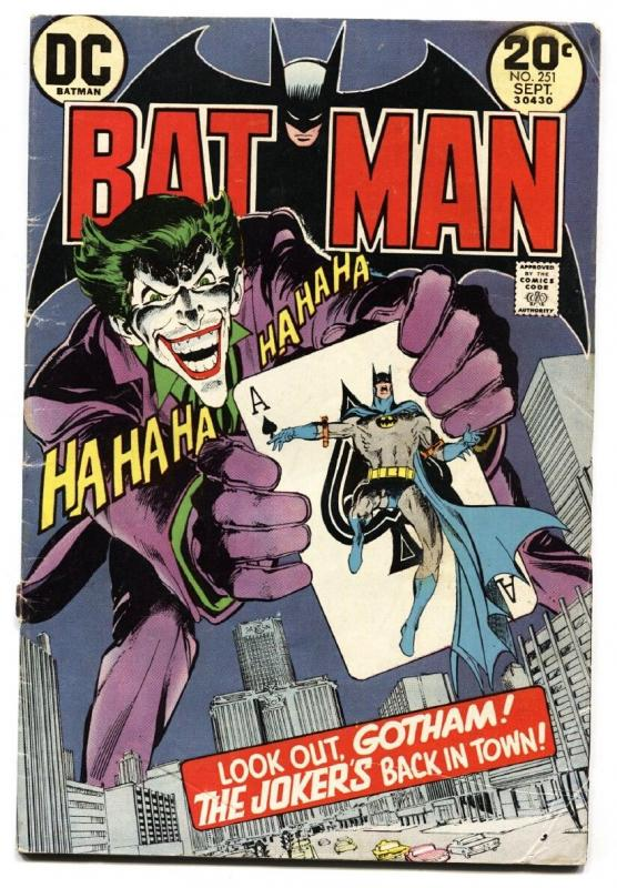 BATMAN #251 DC 1973 Classic Joker Playing Card cover comic book -Neal Adams