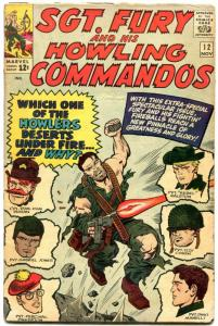 SGT FURY AND HIS HOWLING COMMANDOS-#12-1964-MARVEL-KIRBY ART-WWII-vg