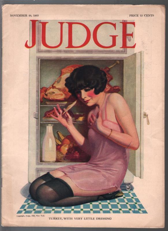 Judge 11/24/1923-Thanksgiving pin-up girl-Flagg-John Held Jr-Helfant-FN/VF