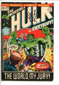 THE INCREDIBLE HULK #153-1972-MARVEL- SIGNED HERB TRIMPE COVER-vg