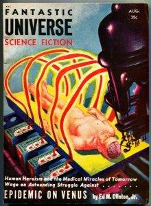 FANTASTIC UNIVERSE SCIENCE FICTION-Aug 1955-Pulp-Epidemic On Venus-RARE Sci-Fi
