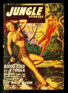 Jungle Stories Winter 1946- Spicy cover- Fiction House Gator cover- G/VG