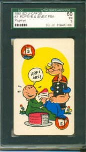 1961 **ED-U-CARDS** #3 Popeye and Swee' Pea SGC 60 EX 5 --Vintage Playing Card--