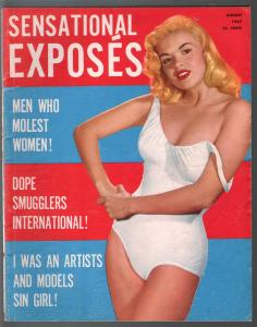 Sensational Exposes 8/1957-exploitation-pulp thrills-cheesecake-smut -VG+