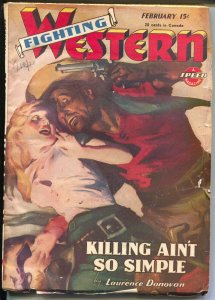 Fighting Western #1 2/1945-Trojan-GGA cover-violent-post Spicy title-VG/FN