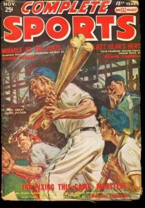 COMPLETE SPORTS 1952 NOV PULP SAUNDERS COVER ART VG-
