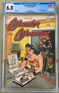 WONDER WOMAN #25 CGC 6.0 -- O/W TO WHITE PAGES! DOLLY MADISON H.G. PETER COVER