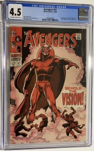 The Avengers #57 (1968) CGC Graded 4.5 First appearance of The Vision
