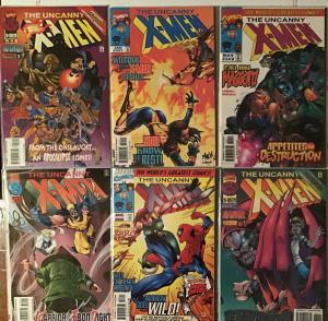 UNCANNY X-MEN 1995 MARVEL 6 BOOK LOT.#329,335,336,340,346,349.351 VF/NM