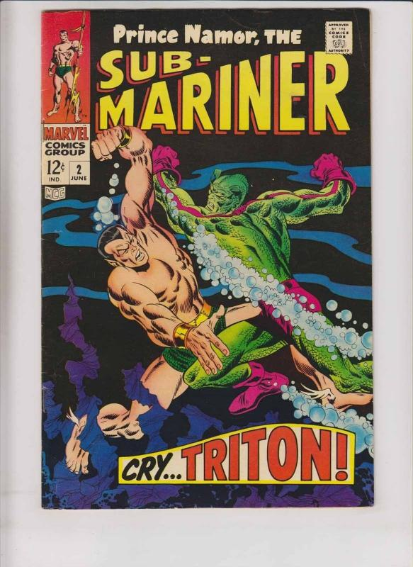 Prince Namor the Sub-Mariner #2 FN triton of the inhumans - roy thomas - buscema