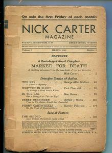 NICK CARTER-#1 MAR-1933-DETECTIVE PULP FICTION-1ST ISSUE-MARKED FOR DEATH-fr
