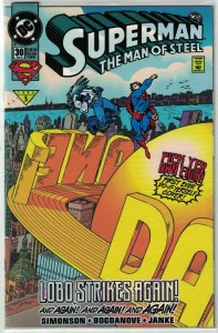 Superman: The Man of Steel #30 (in bag) VF/NM; DC | with removable vinyl clings