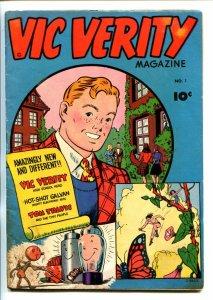 VIC VERITY #1-1945-FAWCETT-CC BECK ART-TOM TRAVIS-vg