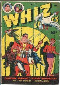 WHIZ #71 1945-FAWCETT-CAPT MARVEL-GOLDEN ARROW-WOLVERTON-SPY SMASHER-vg+