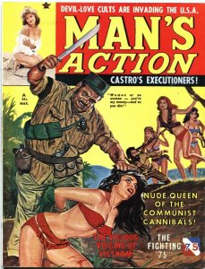 MAN'S ACTION-MAR 1962-BONDAGE-TERROR-CUBA COMMIE COVER-CHEESECAKE-PULP