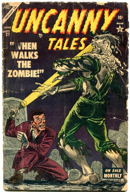 Uncanny Tales #21 1954- Zombie cover- Atlas horror- Reading copy