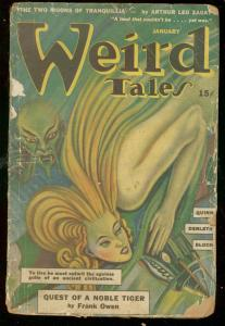 WEIRD TALES JAN 1943-NOBLE TIGER-SEABURY QUINN DERLETH FR