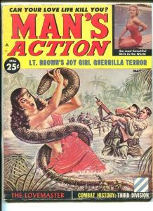 MAN'S ACTION-MAY 1960-GIANT SNAKE-PULP VIOLENCE-CHEESE CAKE-vg