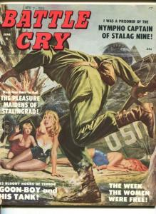 BATTLE CRY- JUNE 1959-STANLEY PUBS-SPICY BABE COVER-PARATROOPERS-NAZI WOMEN-vg