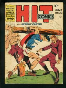 HIT COMICS #22 1942-STORMY FOSTER-CAPT FLAGG-RED BEE ! VG-