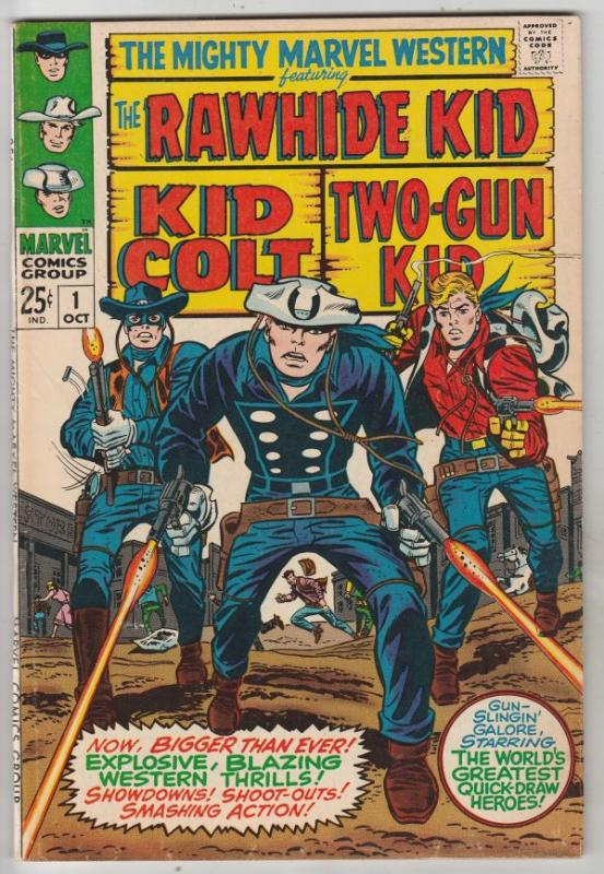 Mighty Marvel Western #1 (Oct-68) VF+ High-Grade Rawhide Kid, Kid Colt, Two-G...
