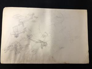 Pulp Magazine Original Aviation Art Penciled Unfinished Unpublished