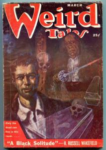 Weird Tales Pulp March 1951- Black Solitude- Skull cover VG