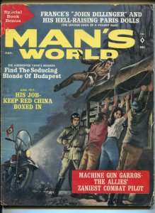 Man's World 8/1962-A-Bomb-cheesecake-Nazis-France's Dillinger-pulp thrills-VG