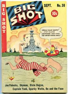 Big Shot #38 1943- Skyman- Joe Palooka- Charlie Chan- Great cover FN+