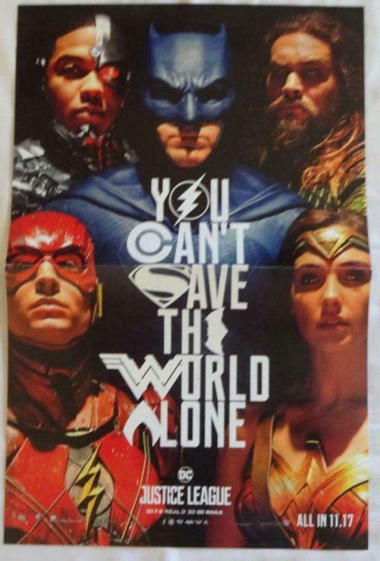 JUSTICE LEAGUE Promo Poster , 11 x 17,  2017, DC, BATMAN WONDER WOMAN Unused 09