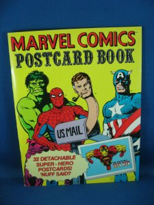 MARVEL COMICS POSTCARD BOOK VF 32 DETACHABLE CARDS SPIDERMAN FANTASTIC FOUR 1978