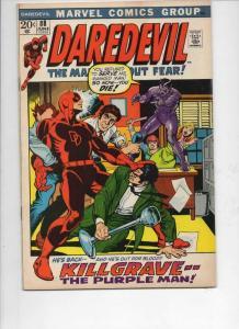DAREDEVIL #88 FN, Gene Colan, Murdock, Purple Man, 1964 1972, Marvel