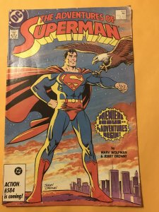 Adventures of Superman #424 : DC 1/87 Fn+; Premiere Issue; Classic WTC cover