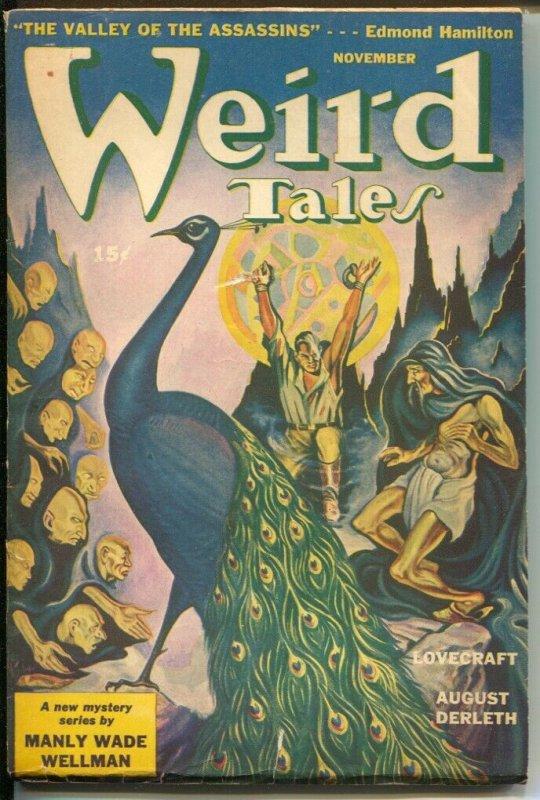 Weird Tales 11/1943-AR Tillburne peacock cover-pulp thrills-Lovecraft-Hamilton-F