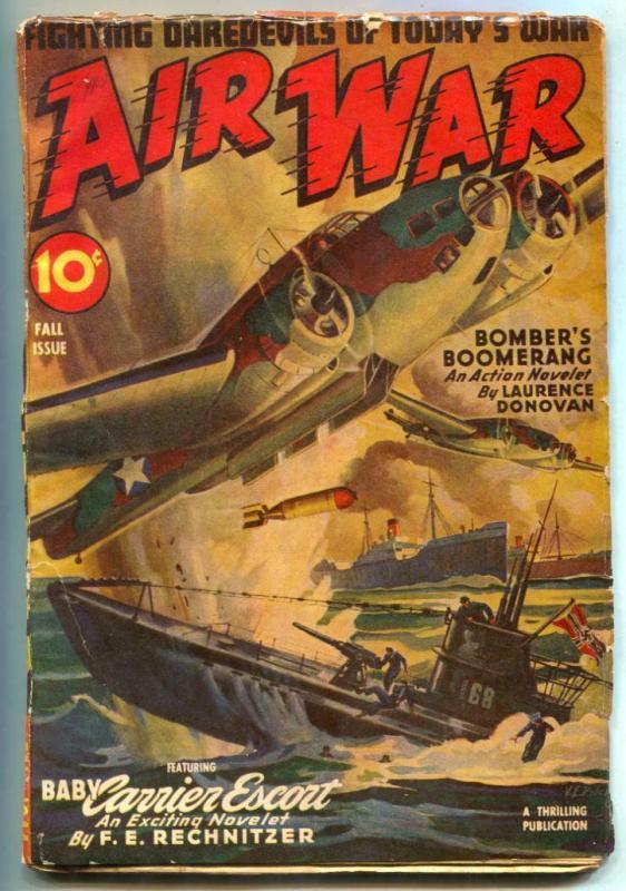 Air War Pulp Fall 1944- Nazi Submarine cover- FN-