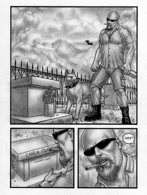 SEAN PATTY original art, SP Adventures #1 pg 1, in graveyard, 8.5x11, 2012