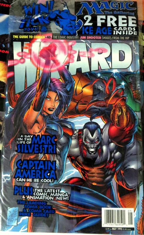 WIZARD Magazine No. 45, May 1995 POLYBAGGED w/Dark Horse minicomic + cards VFNM
