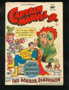 CAPTAIN MARVEL JR #107 1952-HORROR ISSUE-MONSTER COVER-FAWCETT-vg/fn VG/FN