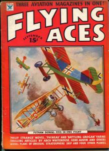 Flying Aces 9/1934- bedsheet edition-WWI aviation pulp thrills-rare-VG