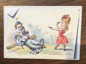 Victorian Trade Card-BLANK -WOMAN WITH TWO PISTOLS-SHOOT LOVER OR HERSELF
