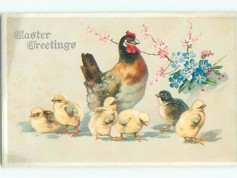 Pre-Linen easter CHICKS WITH CHICKEN AND FLOWERS k3010