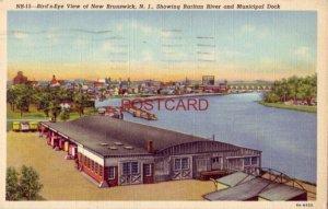 1944 BIRD'S-EYE VIEW OF NEW BRUNSWICK, N. J. RARITAN RIVER AND MUNICIPAL DOCK