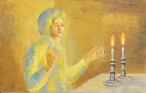 JUDAICA, Jewish Art Katz Artist, Woman Praying Before Kiddush, Candles, #72