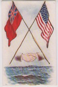 British & American Flag, Shaking Hands