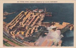 Cargo Ship Ocean Vessel Loading Lumber In The Pacific Northwest Seattle Washi...