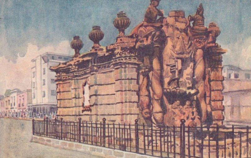 El Salto Del Agua Mexico Antique Mexican Painting Postcard