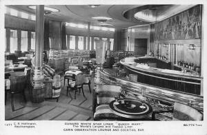 Cunard White Star Liner Queen Mary Cabin Observation Lounge, Cocktail Bar 1949