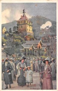 Czech R.? Karlsbad Marktbrunnen, vintage fashion people, ladies 1926