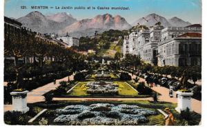 Post Card France MENTON (121) Le Jardin public et le Casino municipal 1914